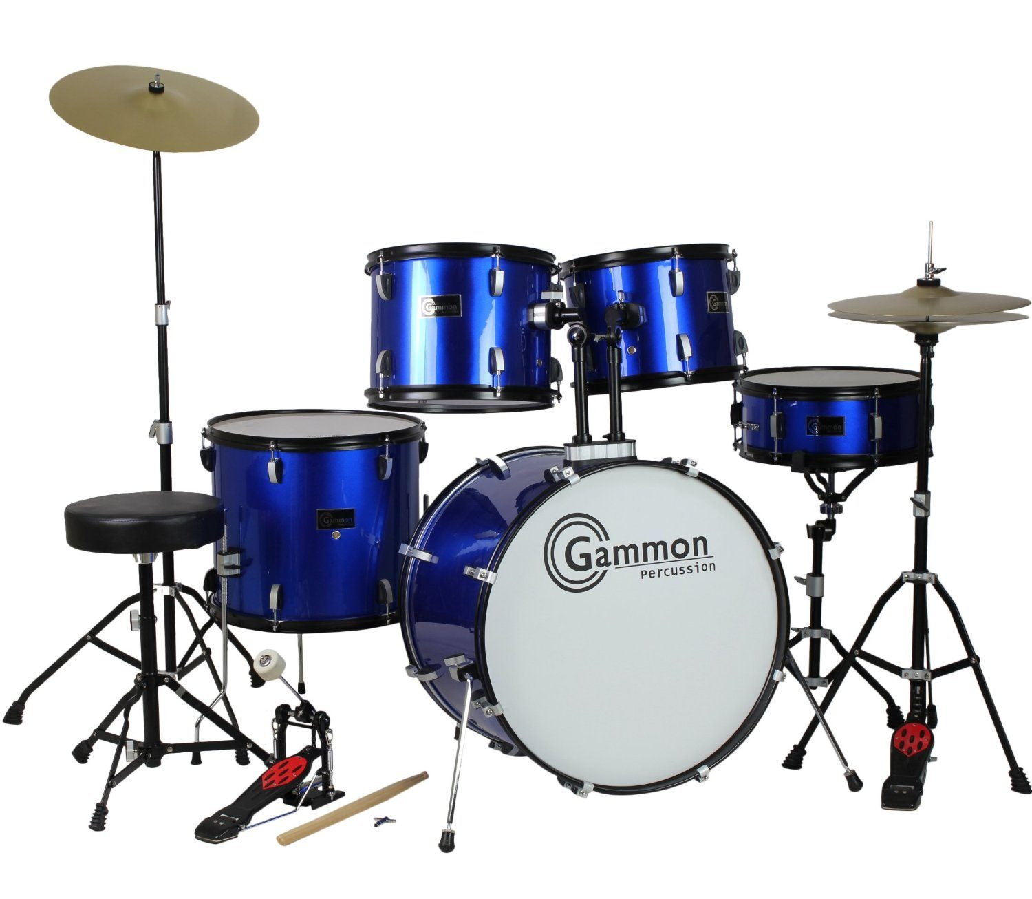 Drum Set Full Size Adult 5-piece Complete Metallic Blue (Garmon Percussion)