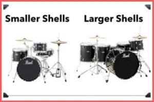 smaller & large Shells sizes of drum